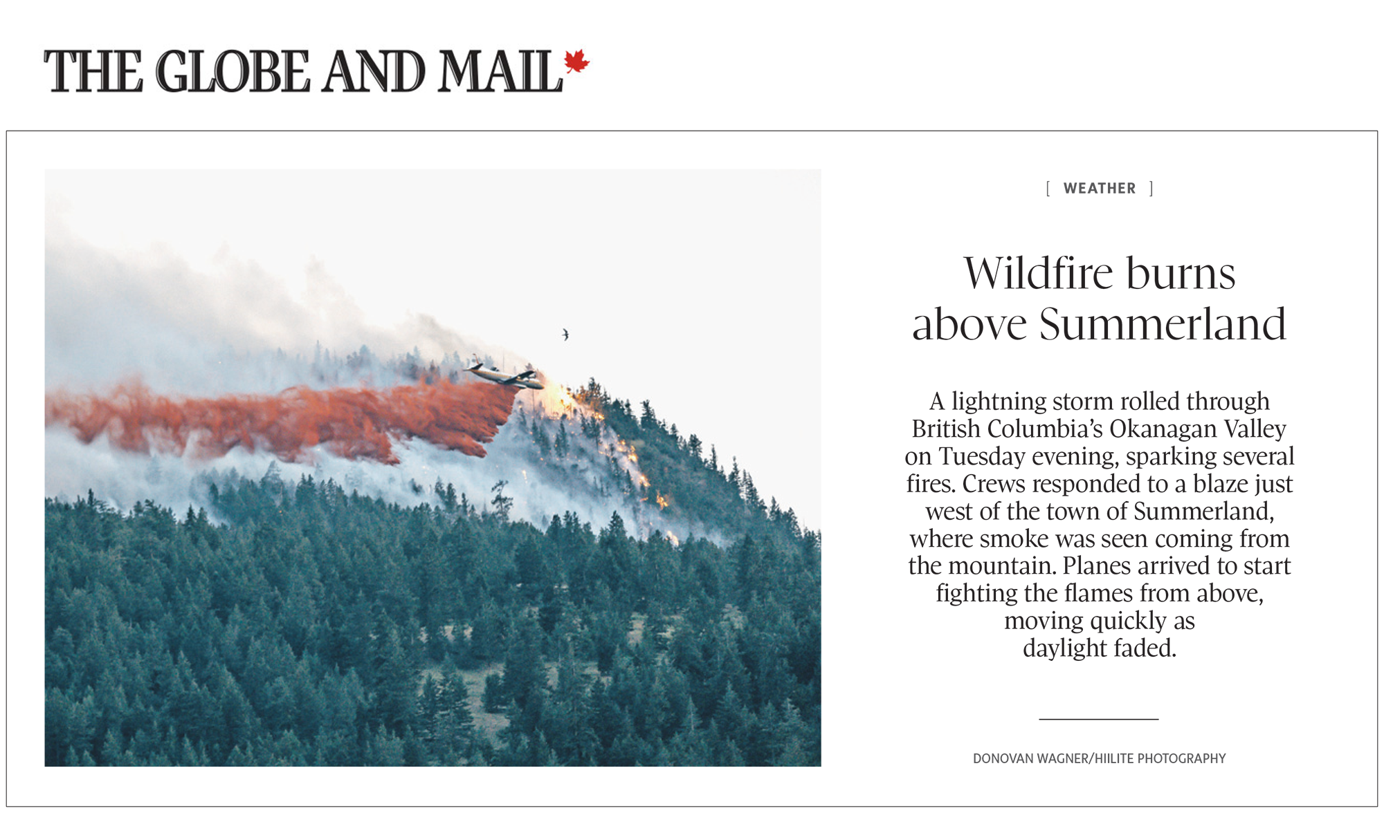 Kelowna Photographers | Publications | Globe and Mail BC Wildfires Photo
